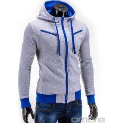 BLUZA MĘSKA ROZPINANA Z KAPTUREM AMIGO - SZARO-NIEBIESKA. Niebieskie bluzy męskie rozpinane marki Ombre Clothing, m, z bawełny, z kapturem. Za 75,00 zł.