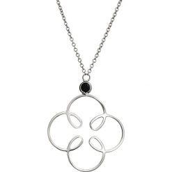 Naszyjniki damskie: Srebrny naszyjnik z cyrkonią – (D)80 cm