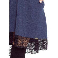 Isabel - sukienka trapezowa granat. Niebieskie sukienki hiszpanki Bergamo, na spotkanie biznesowe, uniwersalny, w koronkowe wzory, z bawełny, wizytowe, trapezowe. Za 194,99 zł.