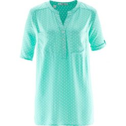 Bluzka tunikowa, krótki rękaw bonprix niebieski mentolowy - biały w kropki. Białe bluzki damskie bonprix, w kropki, z krótkim rękawem. Za 37,99 zł.