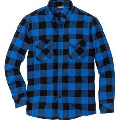 Koszule męskie: Koszula flanelowa z długim rękawem Slim Fit bonprix lazurowo-czarny w kratę