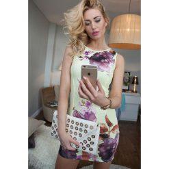 Sukienki: Sukienka w kwiaty cytrynowa