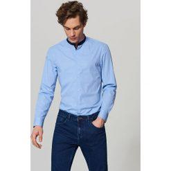 Koszula ze stójką slim fit - Niebieski. Niebieskie koszule męskie na spinki marki Reserved, m, ze stójką. Za 69,99 zł.