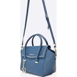Trussardi Jeans - Torebka. Brązowe torebki klasyczne damskie marki Trussardi Jeans, w paski, z jeansu, średnie. Za 799,90 zł.