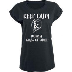 Bluzki asymetryczne: Wein ist Liebe Keep Calm & Drink A Glass Of Wine! Koszulka damska czarny