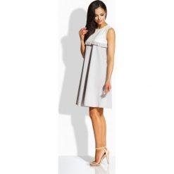 Sukienki: Elegancka dwukolorowa sukienka o luźniejszym kroju ekri-stalowy