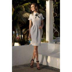 Sukienki: Modna elegancka sukienka jasnoszary