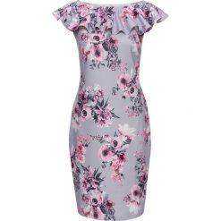 Sukienki: Sukienka bonprix jasnoróżowo-szary w kwiaty