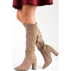 ELEGANCKIE ZAMSZOWE KOZAKI. Szare buty zimowe damskie Super Mode, z zamszu. Za 90,00 zł.