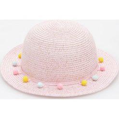Kapelusze damskie: Pleciony kapelusz z pomponami - Różowy