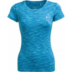 Koszulka treningowa damska TSDF600 - multikolor melanż - Outhorn. Niebieskie bluzki z odkrytymi ramionami marki KIPSTA, xl, z elastanu. W wyprzedaży za 29,99 zł.