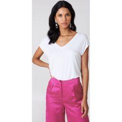 T-shirty damskie: Rut&Circle Czarny t-shirt z wycięciem na plecach Alma – White