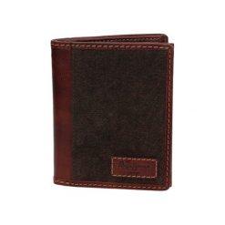 Portfele męskie: Skórzany portfel w kolorze brazowym – (S)12,5 x (W)10 x (G)1 cm