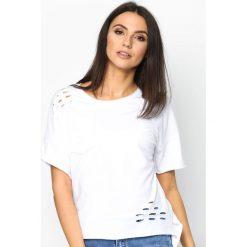 Bluzki asymetryczne: Biały T-shirt Recut