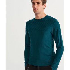 Sweter z okrągłym dekoltem - Turkusowy. Niebieskie swetry klasyczne męskie marki bonprix, m, melanż. Za 119,99 zł.