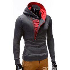 BLUZA MĘSKA Z KAPTUREM I NADRUKIEM DENIS - GRAFITOWO CZERWONA. Czerwone bejsbolówki męskie Ombre Clothing, m, z nadrukiem, z bawełny, z krótkim rękawem, krótkie, z kapturem. Za 79,00 zł.