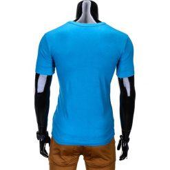 T-SHIRT MĘSKI Z NADRUKIEM S814 - TURKUSOWY. Niebieskie t-shirty męskie z nadrukiem Ombre Clothing, m, z bawełny. Za 29,00 zł.
