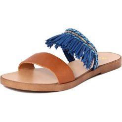 Chodaki damskie: Skórzane klapki w kolorze brązowo-niebieskim