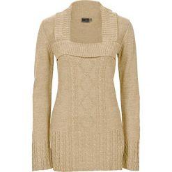 Swetry klasyczne damskie: Sweter dzianinowy bonprix beżowy melanż