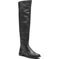 Muszkieterki NESSI - 18404 Czarny 16. Czarne buty zimowe damskie marki Nessi, z materiału, na obcasie. W wyprzedaży za 379,00 zł.