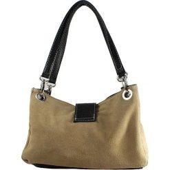 Torebki i plecaki damskie: Skórzana torebka w kolorze szarobrązowym – 26,5 x 18 x 12 cm