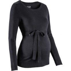 Swetry klasyczne damskie: Sweter ciążowy z 100% bawełny, z wiązanym paskiem bonprix czarny