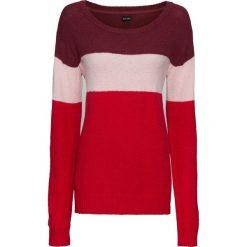 Sweter dzianinowy bonprix bordowo-pastelowy jasnoróżowy - czerwony melanż. Czerwone swetry klasyczne damskie bonprix, z dzianiny, z kontrastowym kołnierzykiem. Za 89,99 zł.