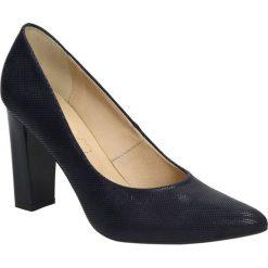 Czółenka skórzane na słupku Casu 162G. Czarne buty ślubne damskie marki Casu, na słupku. Za 159,99 zł.