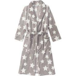 Szlafrok z polaru bonprix szaro-biel wełny z nadrukiem. Szare szlafroki kimona damskie bonprix, z nadrukiem, z polaru. Za 109,99 zł.