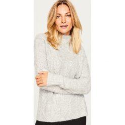 Golfy damskie: Sweter z niskim golfem - Jasny szar
