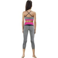 Odzież sportowa damska: Gwinner Legginsy Shape&slim Capri Model 2 CLIMAline szaro-różowe r. L (425324020400)
