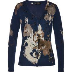 Sweter rozpinany z nadrukiem bonprix ciemnoniebieski z nadrukiem. Niebieskie kardigany damskie marki bonprix. Za 79,99 zł.