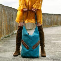 KOFI - duża torba worek - turkusowa. Niebieskie torebki klasyczne damskie Pakamera, duże. Za 156,00 zł.