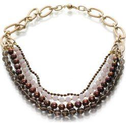 Naszyjniki damskie: Naszyjnik z pereł, granatów i kwarców – (D)45 cm