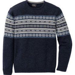 Sweter norweski Regular Fit bonprix ciemnoniebieski melanż. Niebieskie swetry klasyczne męskie marki bonprix, m, melanż. Za 89,99 zł.
