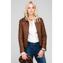 Odzież damska: Skórzana kurtka w kolorze jasnobrązowym
