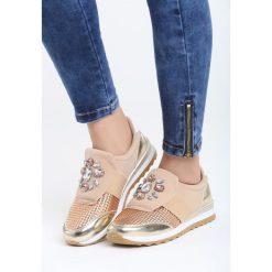Szampańskie Buty Sportowe Sunshine Dust. Żółte buty sportowe damskie marki Kazar, ze skóry, na wysokim obcasie, na obcasie. Za 89,99 zł.
