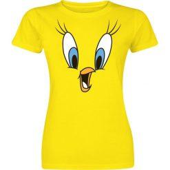 Looney Tunes Tweety Face Koszulka damska żółty. Żółte bluzki asymetryczne Looney Tunes, l, z nadrukiem, z okrągłym kołnierzem. Za 54,90 zł.