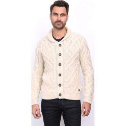Golfy męskie: Sweter rozpinany w kolorze beżowym
