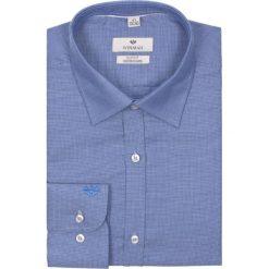Koszule męskie na spinki: koszula winberg 2102 długi rękaw slim fit granatowy