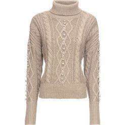 Sweter w warkocze, z perełkami bonprix beżowy. Brązowe golfy damskie bonprix. Za 54,99 zł.