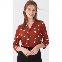 Koszula w grochy - Bordowy. Czerwone koszule wiązane damskie House, l, w grochy. Za 69,99 zł.