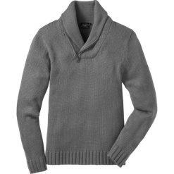 Swetry męskie: Sweter z szalowym kołnierzem, Regular Fit bonprix szary melanż