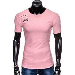 T-SHIRT MĘSKI Z NADRUKIEM S957 - PUDROWY RÓŻ. Czerwone t-shirty męskie z nadrukiem Ombre Clothing, m. Za 29,00 zł.