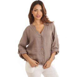 Bluzki damskie: Lniana bluzka w kolorze beżowym