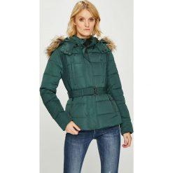 Pepe Jeans - Kurtka puchowa Olivia. Szare bomberki damskie Pepe Jeans, l, w paski, z jeansu, z kapturem. W wyprzedaży za 599,90 zł.