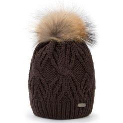 Czapka damska 87-HF-017-4. Brązowe czapki zimowe damskie marki Wittchen, na zimę, z dzianiny. Za 129,00 zł.