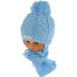 Czapka niemowlęca z szalikiem CZ+S 131B. Niebieskie czapeczki niemowlęce Proman. Za 39,76 zł.