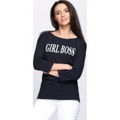 Granatowa Bluzka Boss Lady. Niebieskie bluzki na imprezę marki Born2be, s. Za 49,99 zł.
