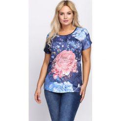 T-shirty damskie: Granatowy T-shirt Flashy Pink